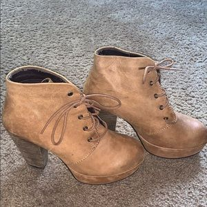 Brown wedge booties